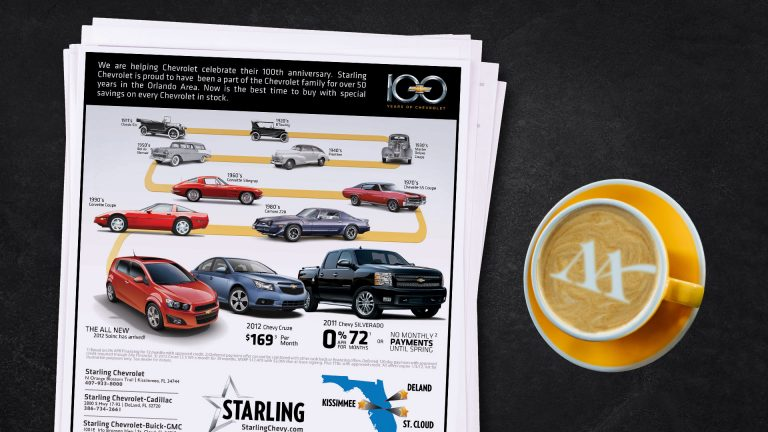 Newspaper Ad: Starling Chevrolet 100 Years